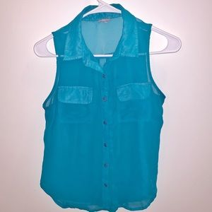 Charlotte Russe Turquoise Sheer Blouse